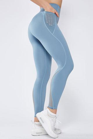 Breathable Side Pocket Mesh Panel Yoga Workout Leggings