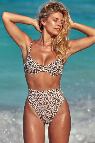 Cheetah High Waist High Leg Underwire Bikini Swimsuit - Two Piece Set