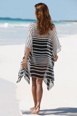 Classic Stripe Sleeved Chiffon Cover Up
