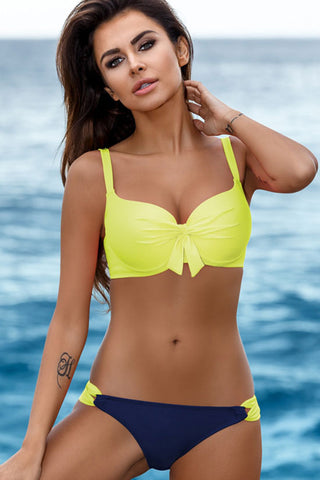 Contrast Color Bowknot Front Underwire Bikini Swimsuit - Two Piece Set