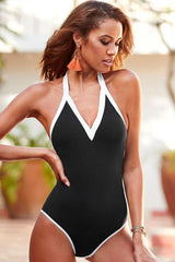 Contrast V Neck Open Back Halter One Piece Swimsuit
