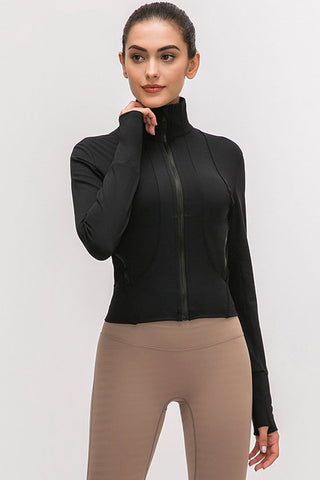 Cozy Solid High Neck Zipper Sleeved Sports Jacket