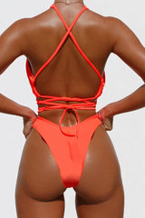 Crisscross High Leg Wrap Bikini Swimsuit - Two Piece Set