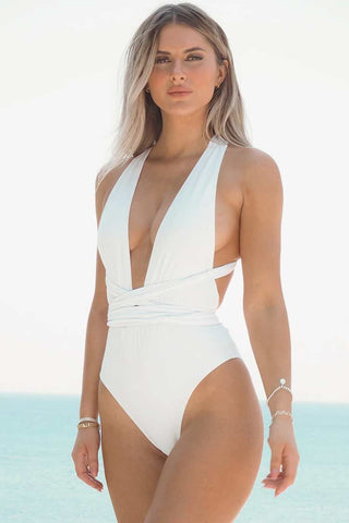 Cross Low Back Plunged V Neck One Piece Swimsuit
