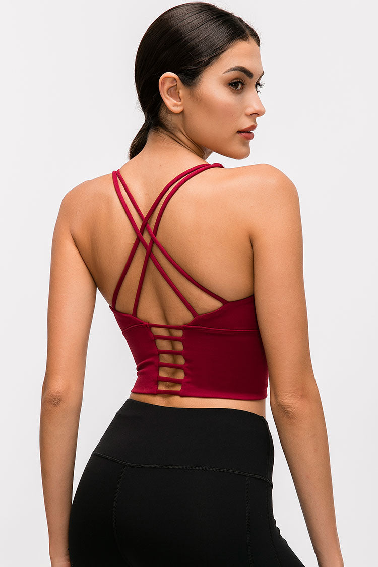 Cutout Cross Strappy Crop Top Sports Bra