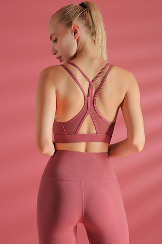 Cutout Racerback Mesh Panel Sports Bra