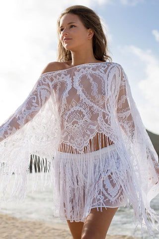 Fairytale Tassel Lace Beach Top with Skirt