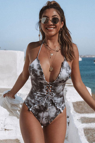 Flirty Ruffle Marble Print Halter One Piece Swimsuit