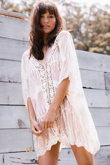 Floral Lace Crochet Sleeved Sheer Kaftan Cover Up