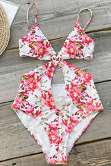 Floral Print Cutout Deep V Neck Monokini One Piece Swimsuit