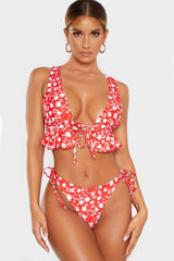 Floral Print Ruffle Tie Up V Neck Bikini Swimsuit - Two Piece Set