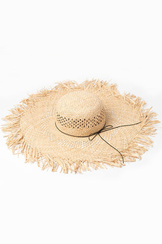 Frayed Bowknot Trim Bow Beach Straw Sun Hat