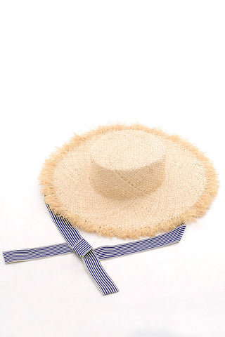 Frayed Stripe Strap Beach Straw Sun Hat