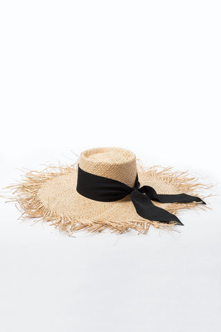 Frayed Trim Beach Straw Sun Hat