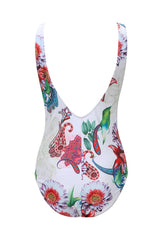 Frill Trim Bloom Floral Printed Low Back One Piece Swimsuit