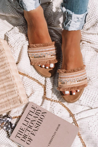 Fringe Folk Woven Flat Slide Sandals