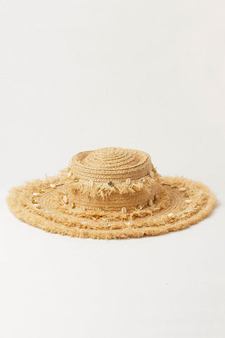 Glitter Frayed Shell Beach Straw Sun Hat
