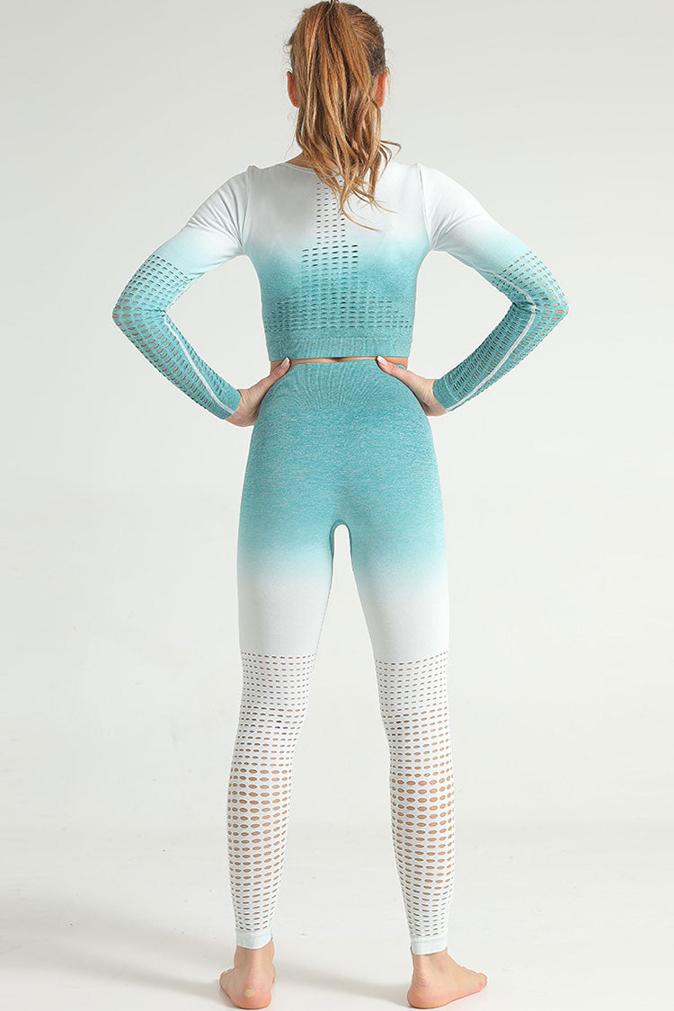 Gradient Color High Waist Sleeved Seamless Sports Set