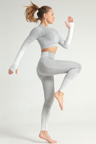 Gradient Stripe Print Sleeved Seamless Sports Set