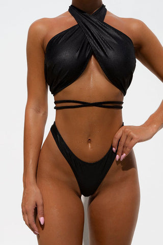 High Leg Cinch Side Thong Wrap Bikini Swimsuit - Two Piece Set