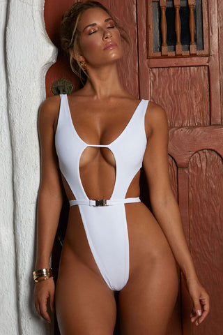 High Leg Cutout Belted Thong Monokini One Piece Swimsuit
