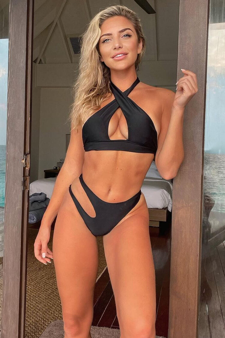 High Leg Cutout Cross Halter Bikini Swimsuit - Two Piece Set