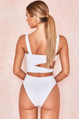 High Leg Cutout Design Knotted Side Brazilian One Piece Swimsuit