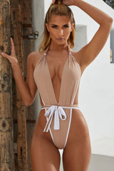 High Leg Deep V Neck Halter One Piece Swimsuit