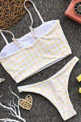 High Leg Gingham Bandeau Bikini Swimsuit - Two Piece Set