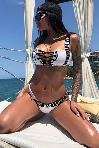 High Leg Metallic Letter Strap Lace Up Bikini Swimsuit - Two Piece Set