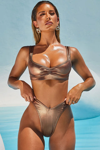 High Leg Metallic Ribbed Bralette Bikini Swimsuit - Two Piece Set