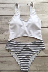 High Leg Striped Cutout Textured One Piece Swimsuit