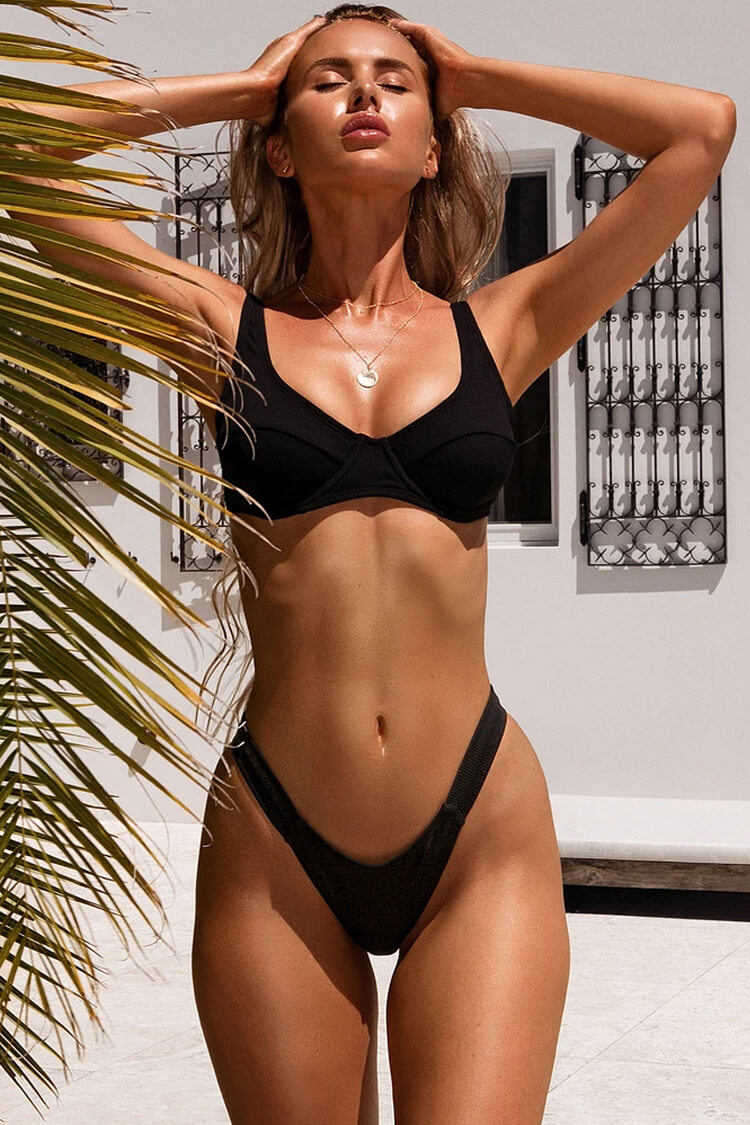 High Leg Textured Push Up Bikini Swimsuit - Two Piece Set