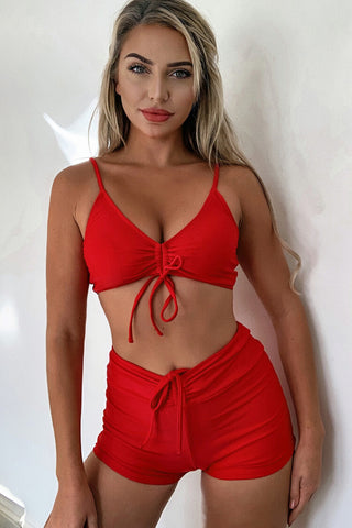 High Waist Boyshort Tie Front Bralette Bikini Swimsuit - Two Piece Set