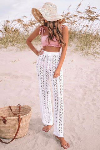 High Waist Crochet Cover Up Pants