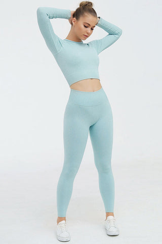 High Waist Ribbed Sleeved Seamless Sports Set