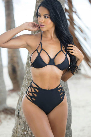 High Waisted Strappy Micro Triangle Brazilian Bikini Swimsuit - Two Piece Set