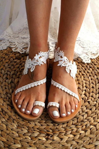 Lace Flower Applique Toe Ring Flat Sandals
