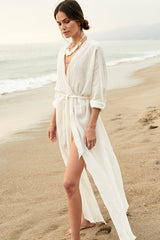 Leisure Belted Split Maxi Cover Up