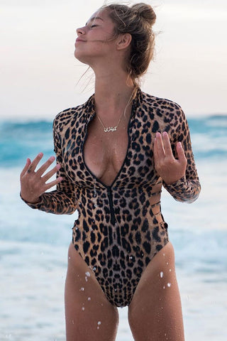 Leopard Sleeved Strappy Cutout One Piece Swimsuit