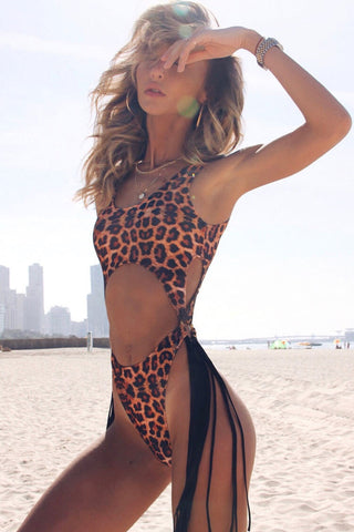 Leopard Tassel Side High Leg Cutout One Piece Swimsuit