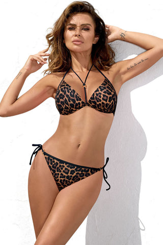 Leopard Tie String Halter Triangle Bikini Swimsuit - Two Piece Set
