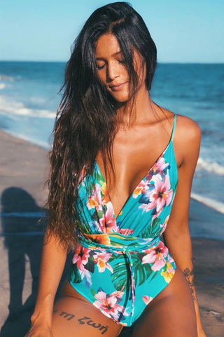 Lily Flower Multi Way Low Back Deep V Brazilian One Piece Swimsuit