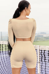Long Sleeve High Waist Ruched Bike Short Sports Set