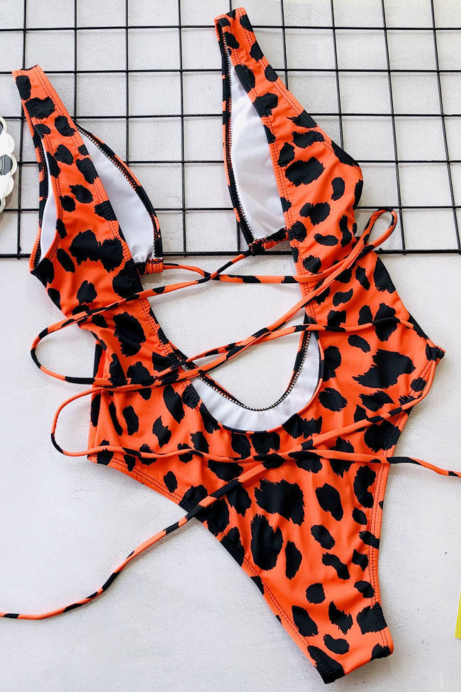 Low Back High Leg Cheetah Tie Straps Cutout Front One Piece Swimsuit