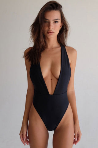 Low Back High Leg Deep V Neck One Piece Swimsuit