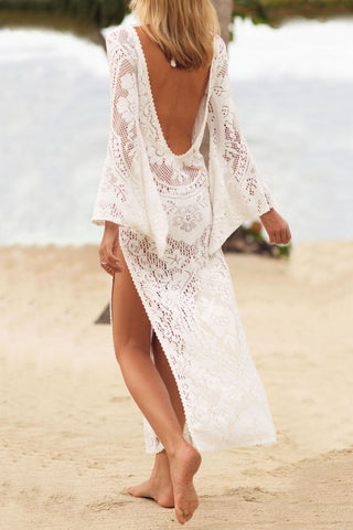 Low Back High Split Long Sleeve Lace Cover Up