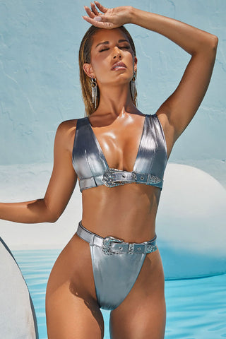Metallic Belted Thong High Leg High Waisted Bikini Swimsuit - Two Piece Set
