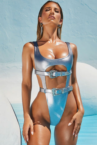 Metallic High Leg Belted Cutout One Piece Swimsuit