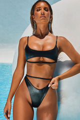 Metallic Ribbed High Leg Bralette Bikini Swimsuit - Two Piece Set